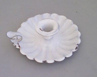 Vintage French enamel candle holder