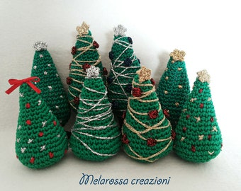 Christmas tree decoration, Christmas decoration embroidered crochet amigurumi country chic, winter wedding favor.