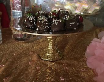 gold glitter dessert stand
