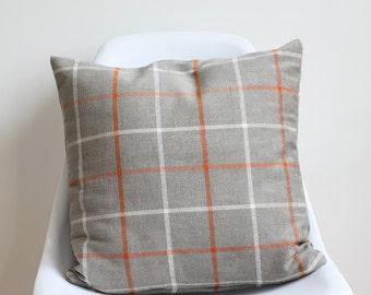 Sherlock   cushion cover   42cm x 42cm   orange, taupe, cream