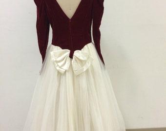 1980's Dark Red Velvet Puffy Sleeve and Cream Tulle Skirt Dress Size 8