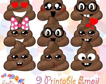 20 PNG JPG Emoji Poop Clipart Printable Poo Smiley Emoji