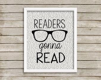 readers gonna read, digital print, glasses, wall art, reading, bookworm