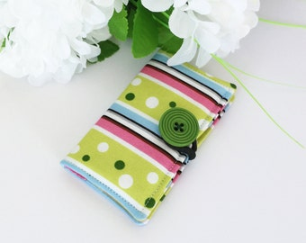 Fabric Card Holder - For Business Cards, Credit Cards, Opal Card - Stripes and Dots