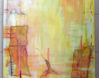Acrylic painting canvas 100 x 70 x 4 orange yellow ship painting homecoming large painting