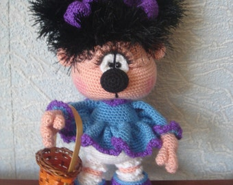 Knitted toy doll girl Hedgehog