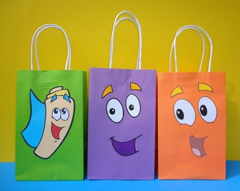 Instant Download Dora & Diego Backpack Party Favor Bags/Bag- Dora the Explorer / Diego Party Favors/ Goodie Bags, Dora the Explorer Birthday