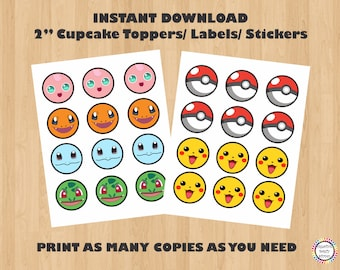 Pokemon Party Cupcake Toppers/ Pokemon Stickers/ Pokemon Labels/ Tags/ Pokemon Birthday Party/ Pokemon Party Favors/ Printable Decoration