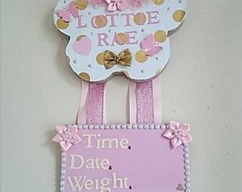 birth announcement nursery wall/door hanger