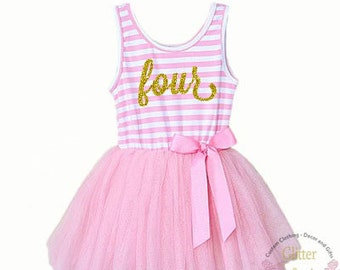 Fourth birthday outfit, 4th birthday dress, tutu dress with gold letters,Fourth Birthday Party 4th Birthday Outfit