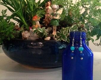 Blue Dangling Bubble Earrings