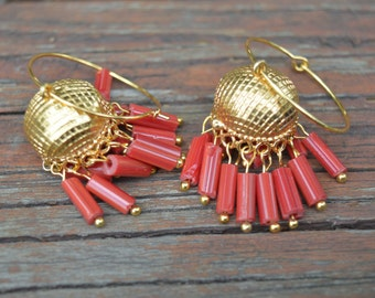 14K Yellow Gold Plated Traditional Handmade Round Beads Jhumka Earrings|Indian jewelry