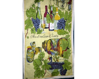 "Vintage 1970s Tea Towel ""Australian Wines"" / Linen & Cotton Tea Towel / Australian Wineries Tea Towel / Grape Growers"