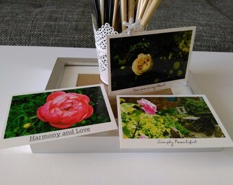 Photography card set, photo card, flower photograthy, rose card, greeting card, flower print, peony flower card