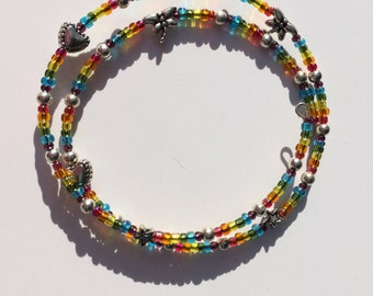 Rainbow Charms Memory Wire Bracelet