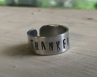 Thankful - Personalized Hand Stamped Ring - Gift For Her - Best Friend Gift - Mother - Sister - Bridesmaid - Summer Jewelry