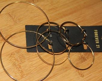 Forever21 Three Piece Set Gold Hoop Earrings
