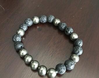 lava bead and pyrite bracelet