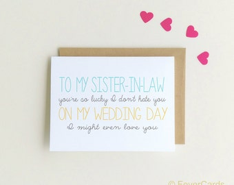 To My Sister-In-Law On My Wedding Day Card | Sister-in-law Card | Wedding note for Sister in Law | On my wedding day {SKU: FC143}