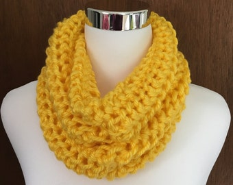 Bright Yellow Knitted Infinity Cowl Scarf