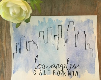 Los Angeles, California Skyline Watercolor Print