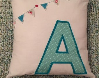 "Alphabet Cushion Cover, 16""x16"", Personalised, Letter and Bunting, Customised Gift"