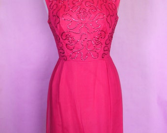 Late 50s Early 60s Hot Pink Wiggle Dress