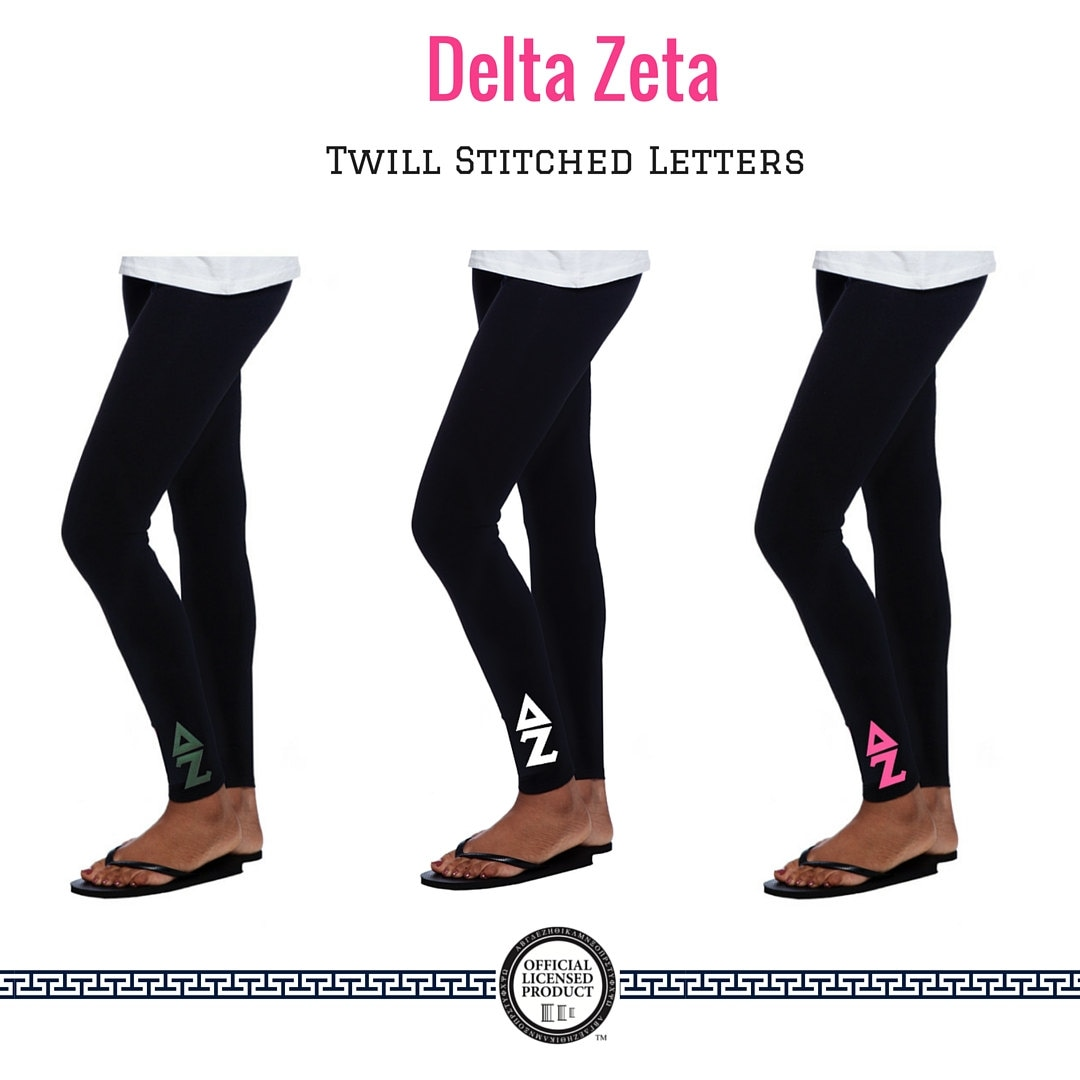 delta zeta leggings 2 inch custom stitched twill letters With delta zeta stitched letters