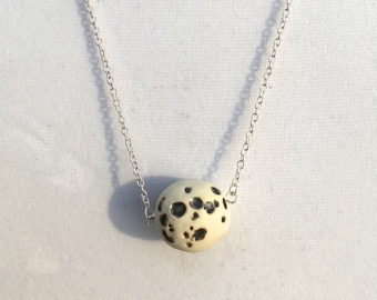 Handmade Porcelain Moon Necklace on Chain