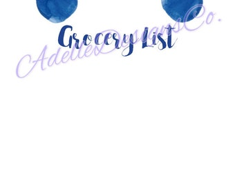 Blue Grocery List- Bullet and Non-bulleted