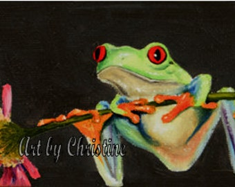 Tree Frog with Pink Flower Giclee Print of Original Oil Painting