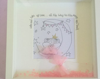 Little fairy love you to the moon and back Personalised box frame