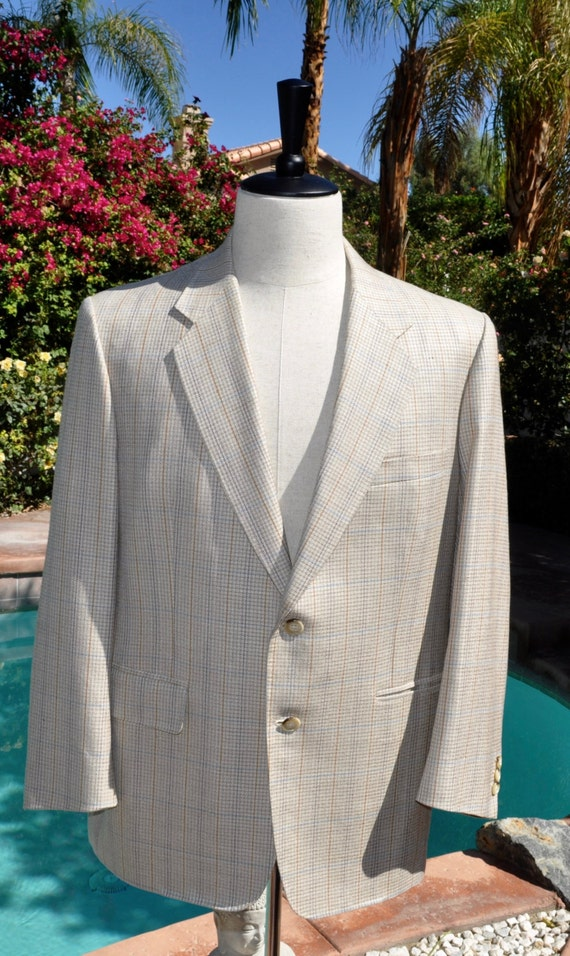 Vintage 1980s Men's Jade House Tailors of Distinction Regent Hotel HK Cream and Tan Houndstooth Blazer Sz 40s