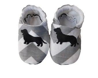 Dachshund Grey / White Chevron Canvas Soft Sole Baby Shoe Bootie   Crib Shoes