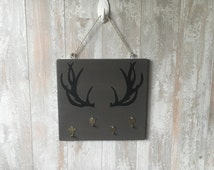 Unique painted antlers related items etsy - Antler key rack ...