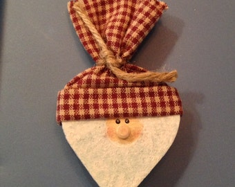 Santa with Red and White Checked Hat Pin