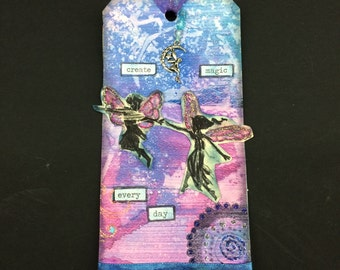 Fairy mixed media art tag, gift tag, pink and blue, hang tag, mirror tag, altered art, decoupage, hostess gift