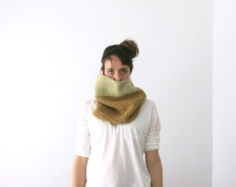 THICK Chunky Cowl Scarf, handknitted neck warmer, infinity scarf, knit crochet, winter,  tan & beige, unisex cowl, under 75, ready to ship
