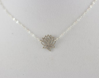 Sterling Silver Lotus Flower Charm Necklace BP4019