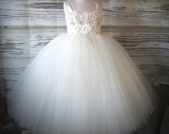 Free Shipping  to USA Custom Made Ivory Tutu Dress for Flower Girls Available in Sizes Newborn  to 14 years old