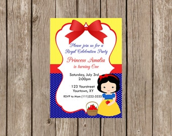 Snow white Birthday Invitation-Digital
