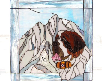 Big Sale! Free Shipping! Saint Bernard Dog with mountains Stained Glass Suncatcher, Window Decoration, Tiffany technique, Dog Memorial Gift