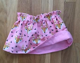 Baby/Toddler Girls Fox & Pink Skirt--Reversible