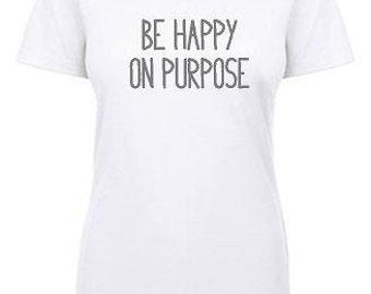 be happy on purpose crew neck tee - white
