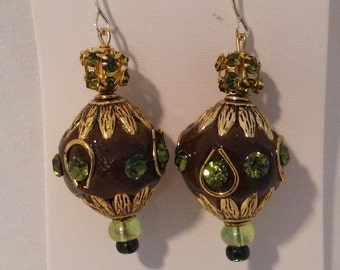 Earrings - Dangle, Brown, Green, Black, Gold Tone