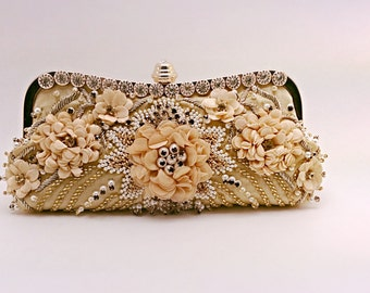 MazCollection flower pattern with faux pearl, crystal evening bag.