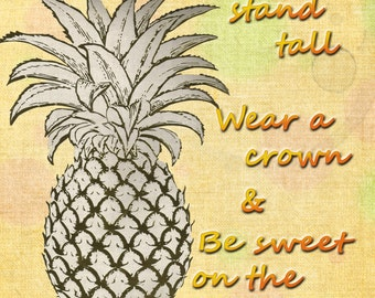 Pineapple Art Print.  8x10 digital image.  High Resolution.  Five Different Designs... Please Pick one!