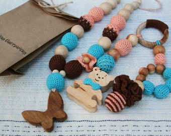 Nursing set Teething set Nursing necklace and teething Toy set  Crochet teething necklace Breastfeeding WoodenTeether Easter sale