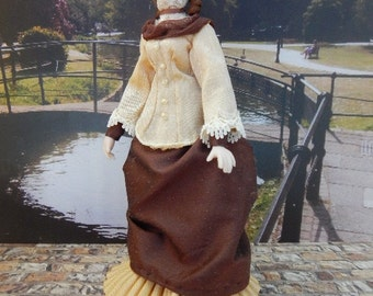 Hand Made 1/12th scale Victorian Lady in a OOAK Walking Outfit.