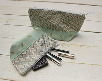 Makeup bag, purse organizer, toiletry bag, zipper pouch, clutch, Blue and gold, chevron, and sparrows